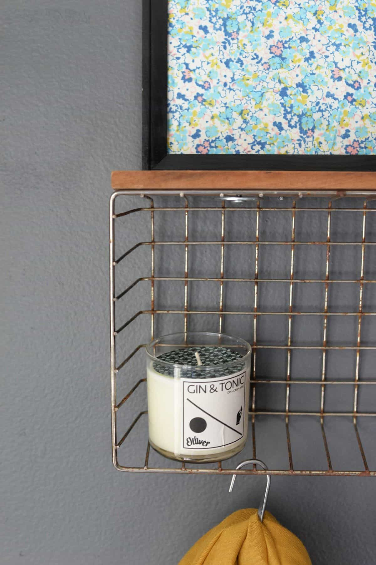 Diy wire basket shelf coat hanger