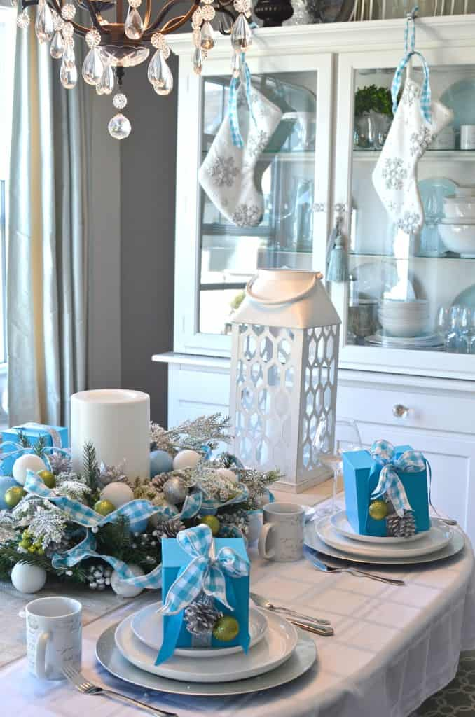 Diy blue christmas centerpiece