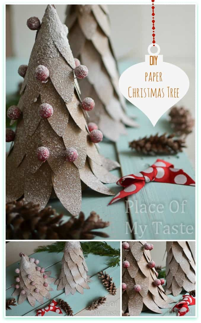 Diy frosted paper christmas trees