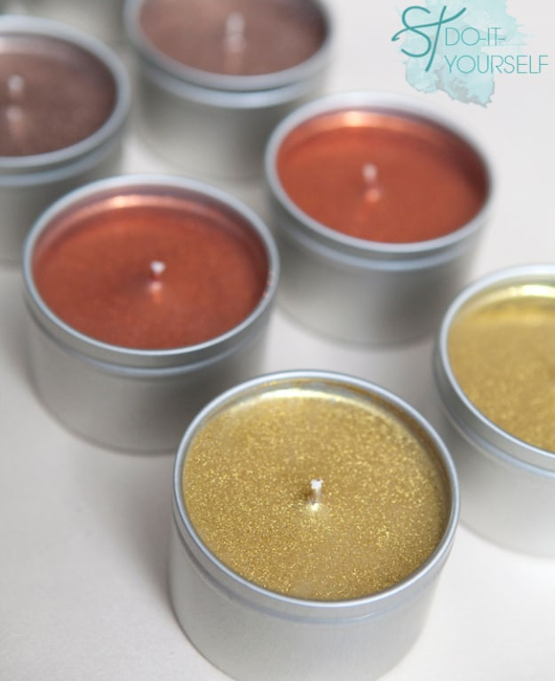Diy poured glitter candle