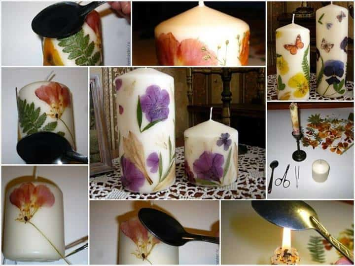 Diy pressed flower candles