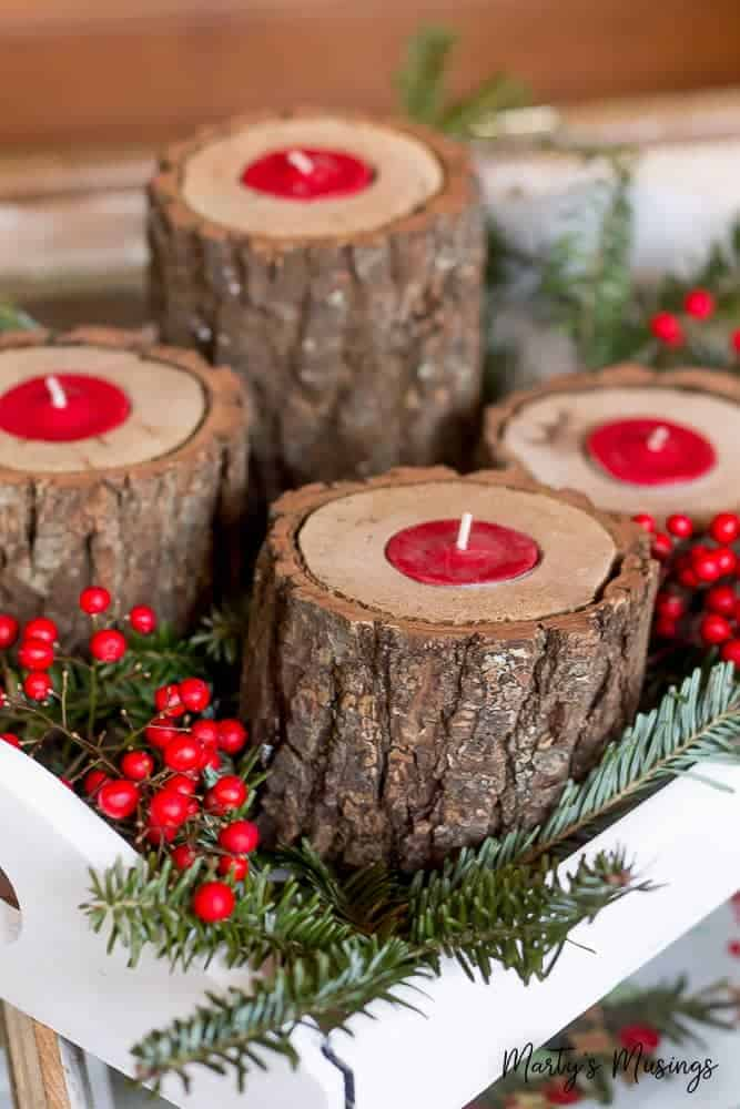 Diy rustic log candle holder