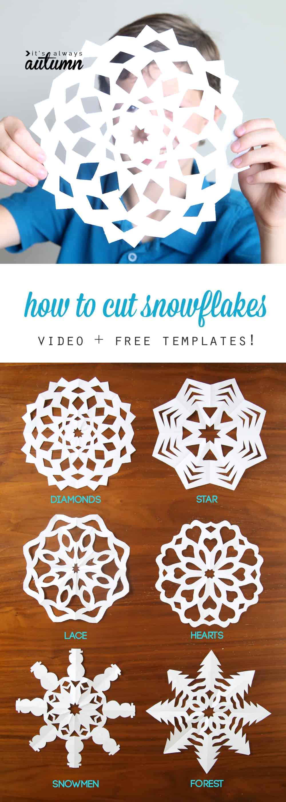 Differently patterned paper snowflake tutorials