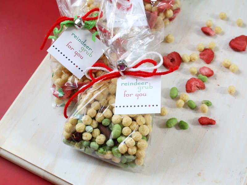 Dried cereal and berries reindeer snacks
