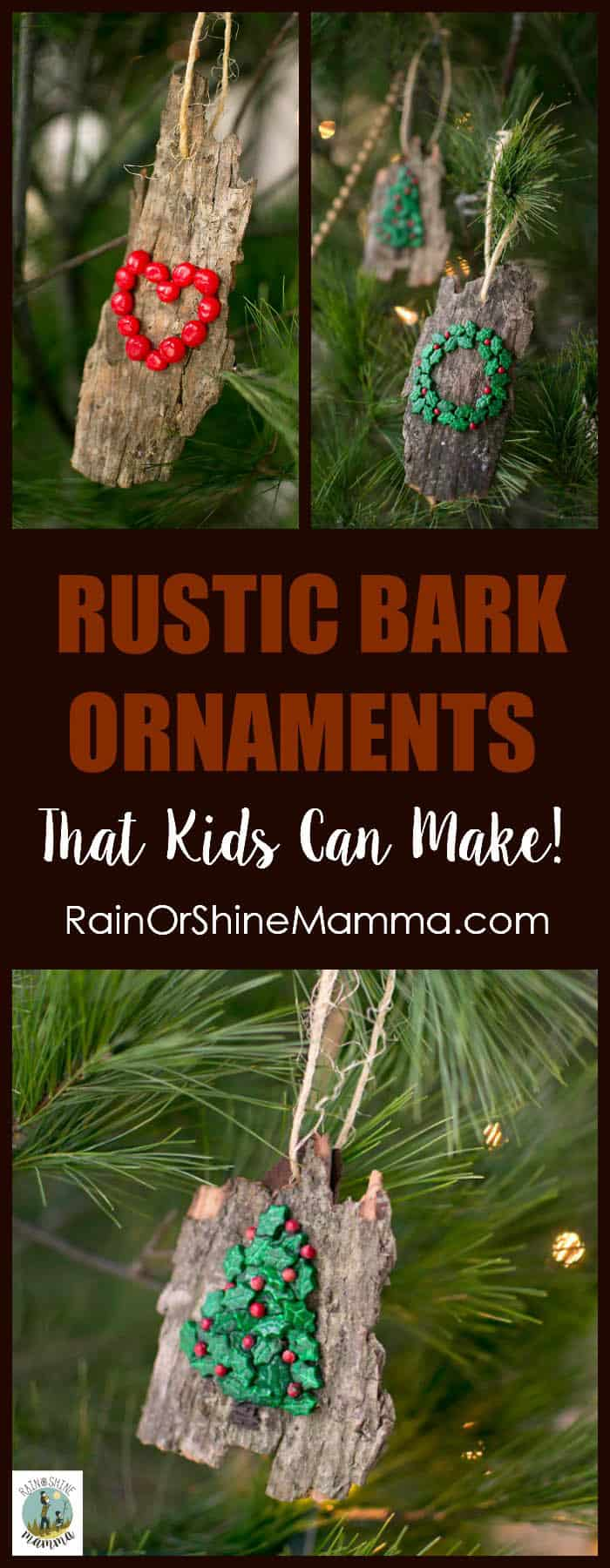 Embellished bark ornaments