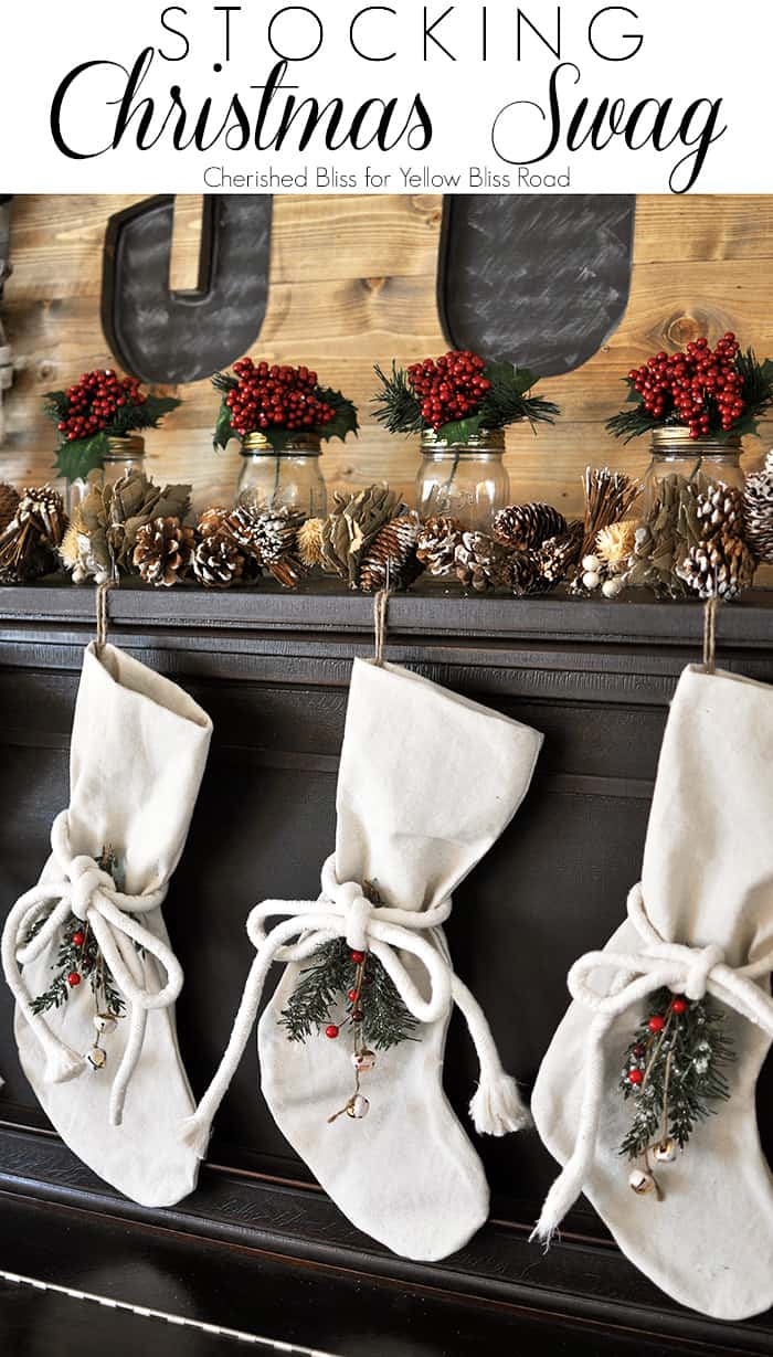 Embellished drop cloth christmas stockings