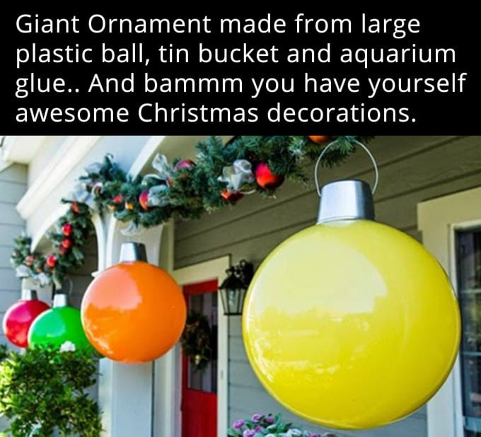 Giant christmas ornaments from plastic balls