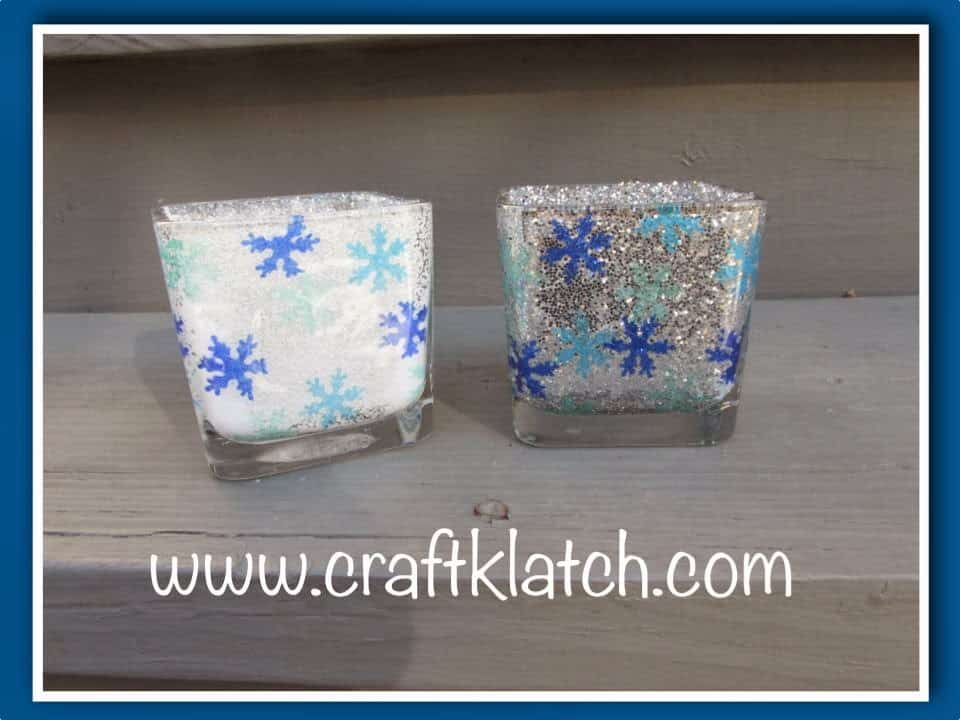 Glitter and snowflake confetti votive
