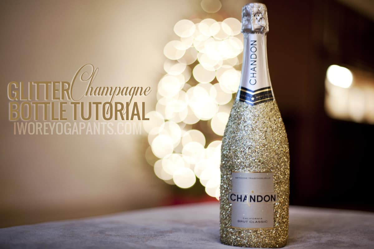 Glitter covered champagne bottles