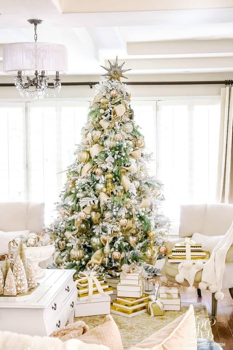 Gold and silver flocked elegant christmas tree 1 1