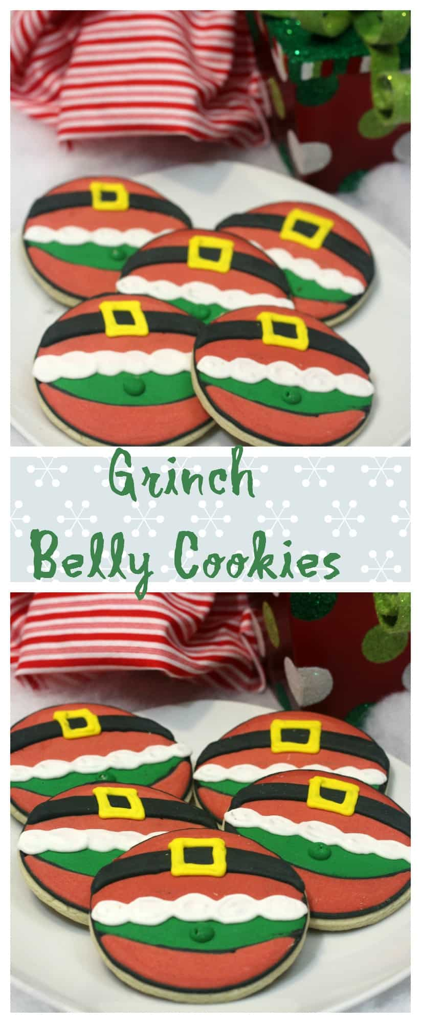 Grinch belly christmas cookies
