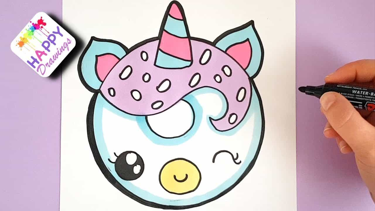 How to draw a unicorn donut