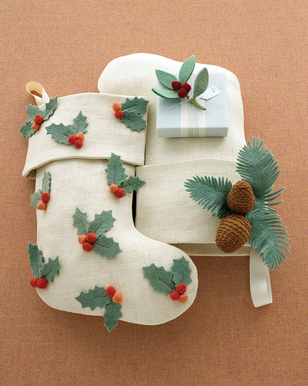 Handmade felt holly stockings
