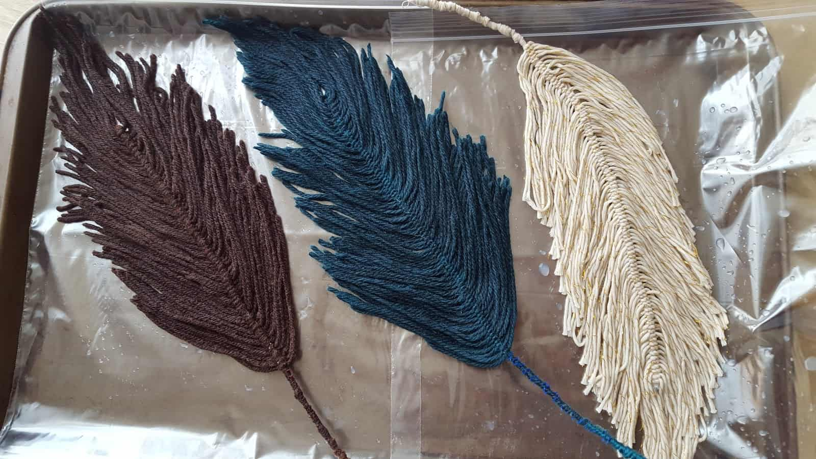 Handmade yarn feathers