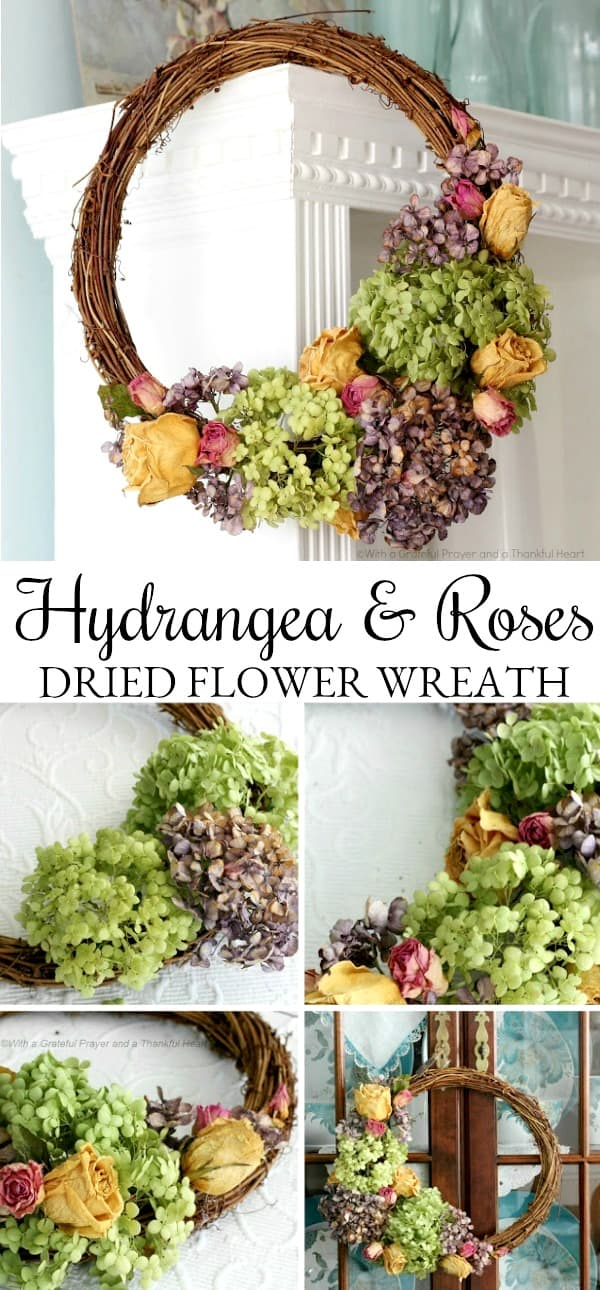 Hydrangea and roses dried flower wreath