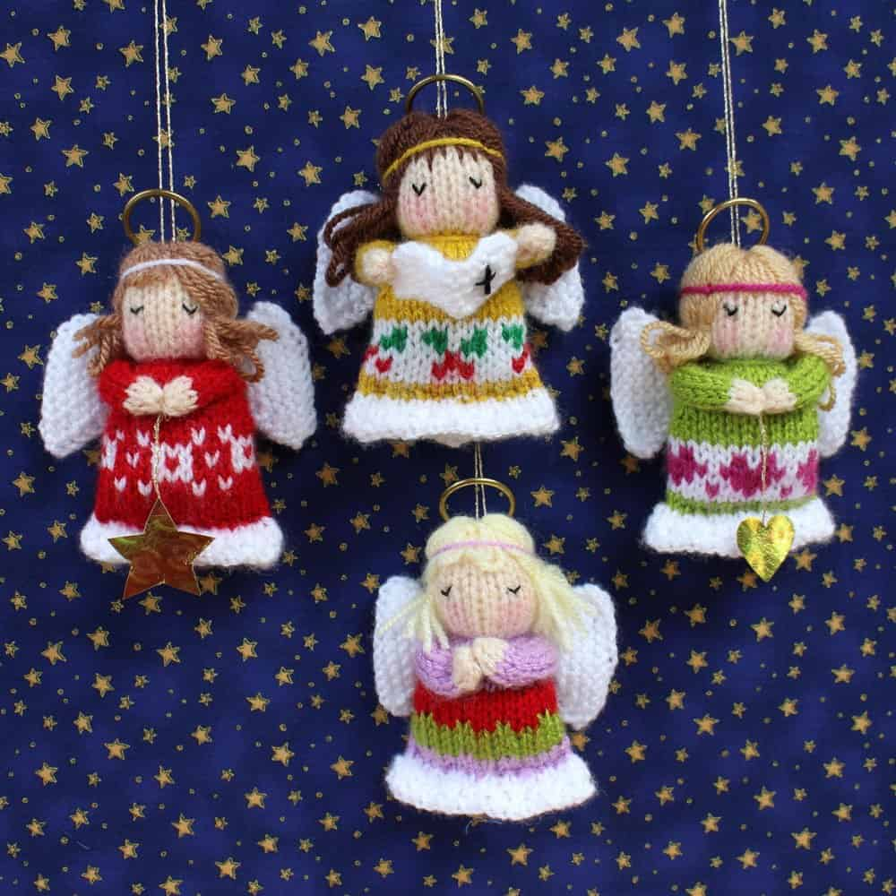 Knitted angel ornaments