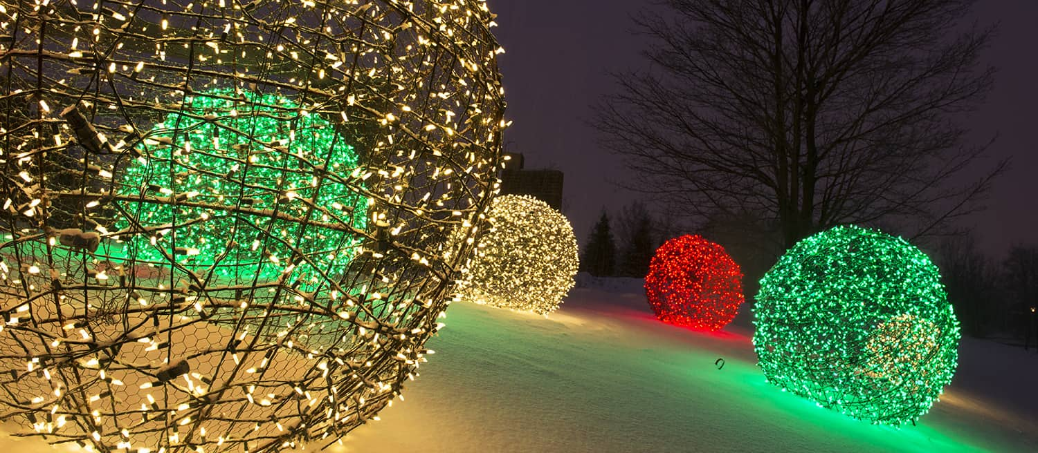 Large wire and light christmas orbs