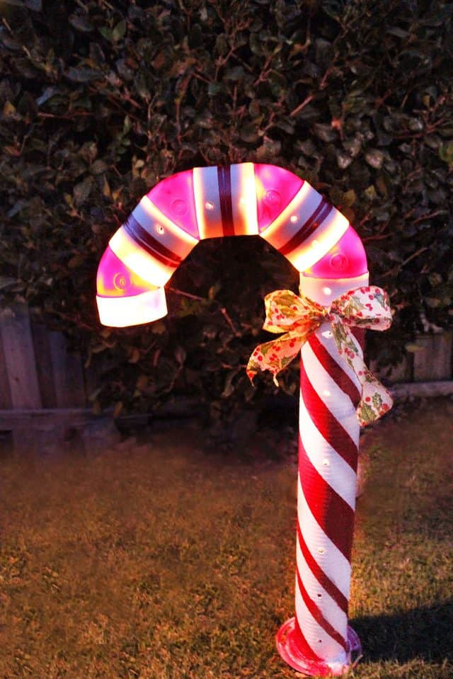 Lighted pvc candy cane