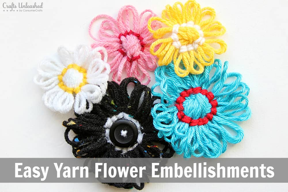 Looped yarn flower embellishments