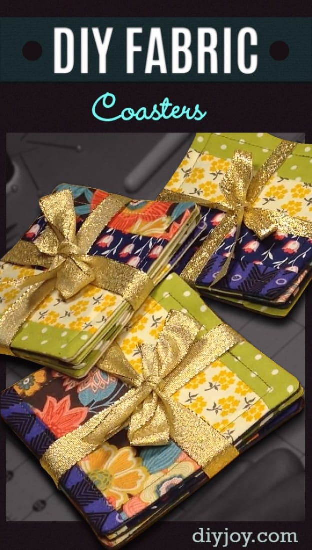 Lovely fabric scrap coasters