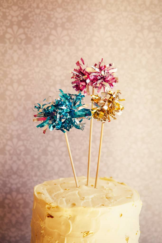 Metallic fringe dessert toppers and stirrers