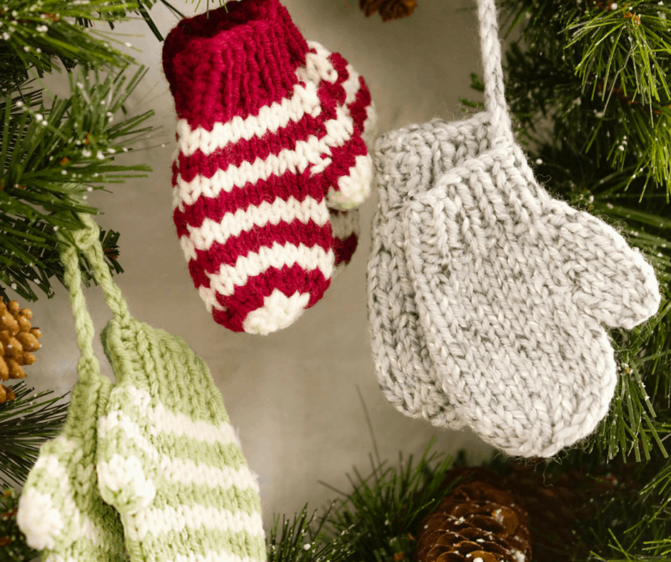Mini knitted mittens ornaments