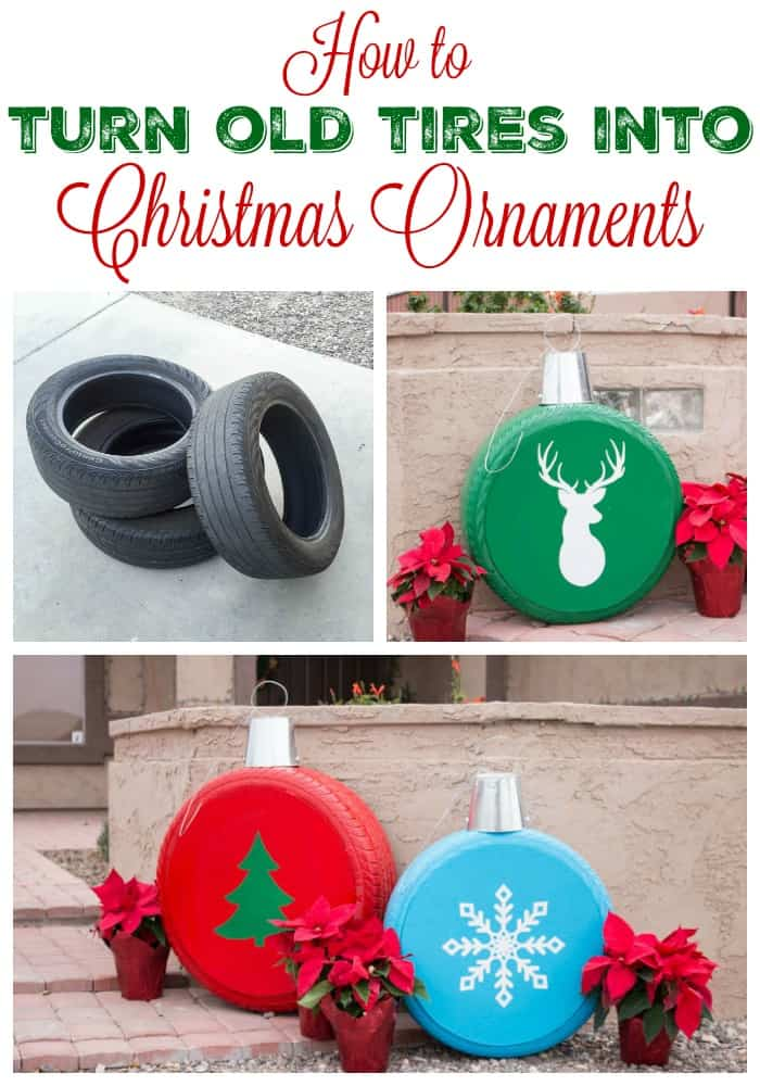 Old tire christmas ornaments