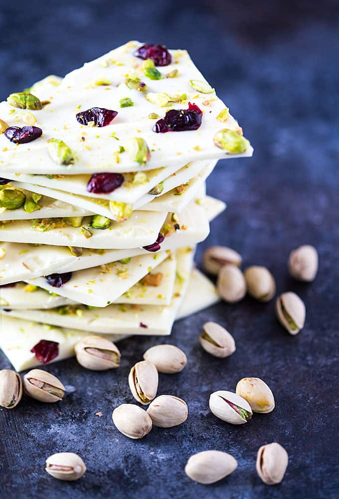 Pistachio cranberry white chocolate bark