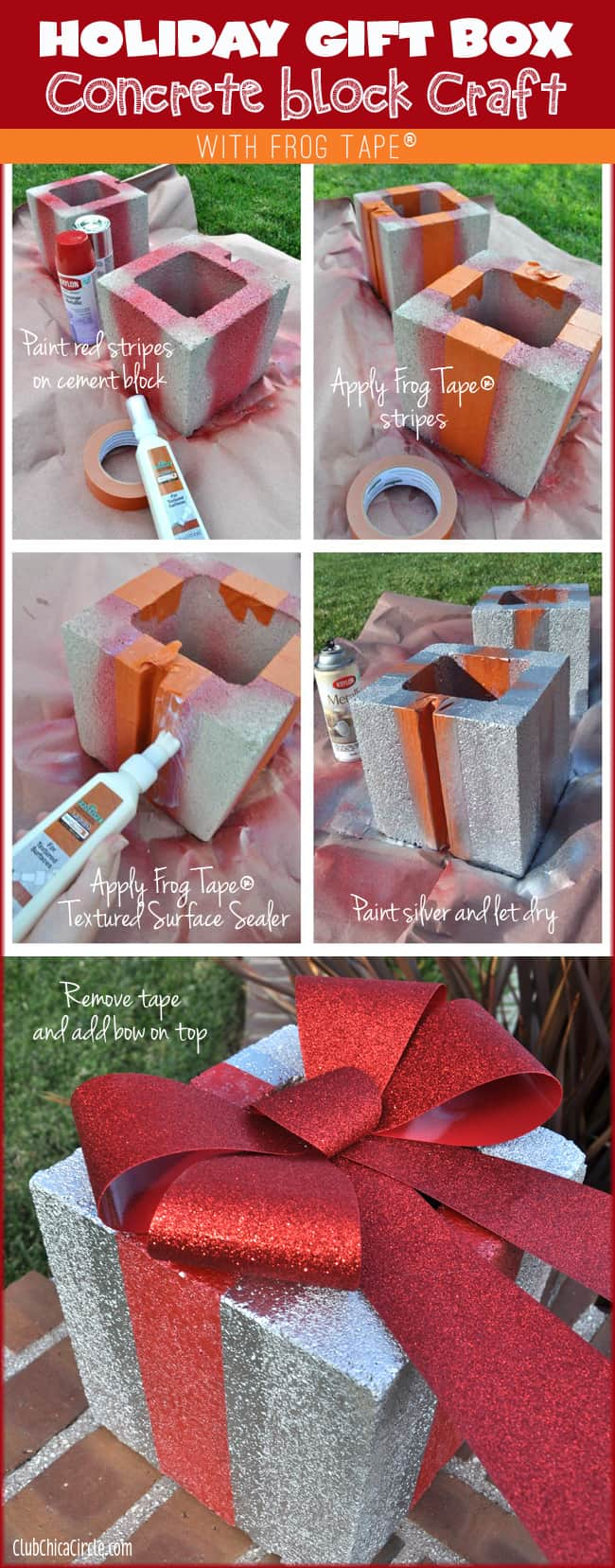 Painted cement brick holiday gift