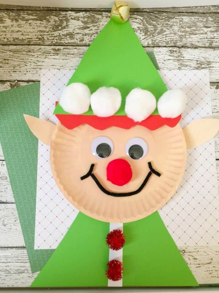 Paper plate christmas elf
