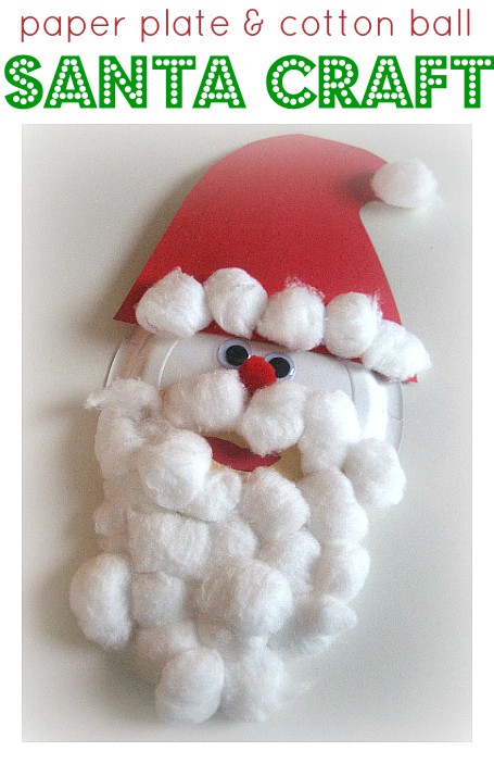 Paper plate santa with a cotton ball beard
