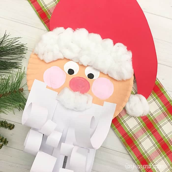 Paper plate santa with a curly beard