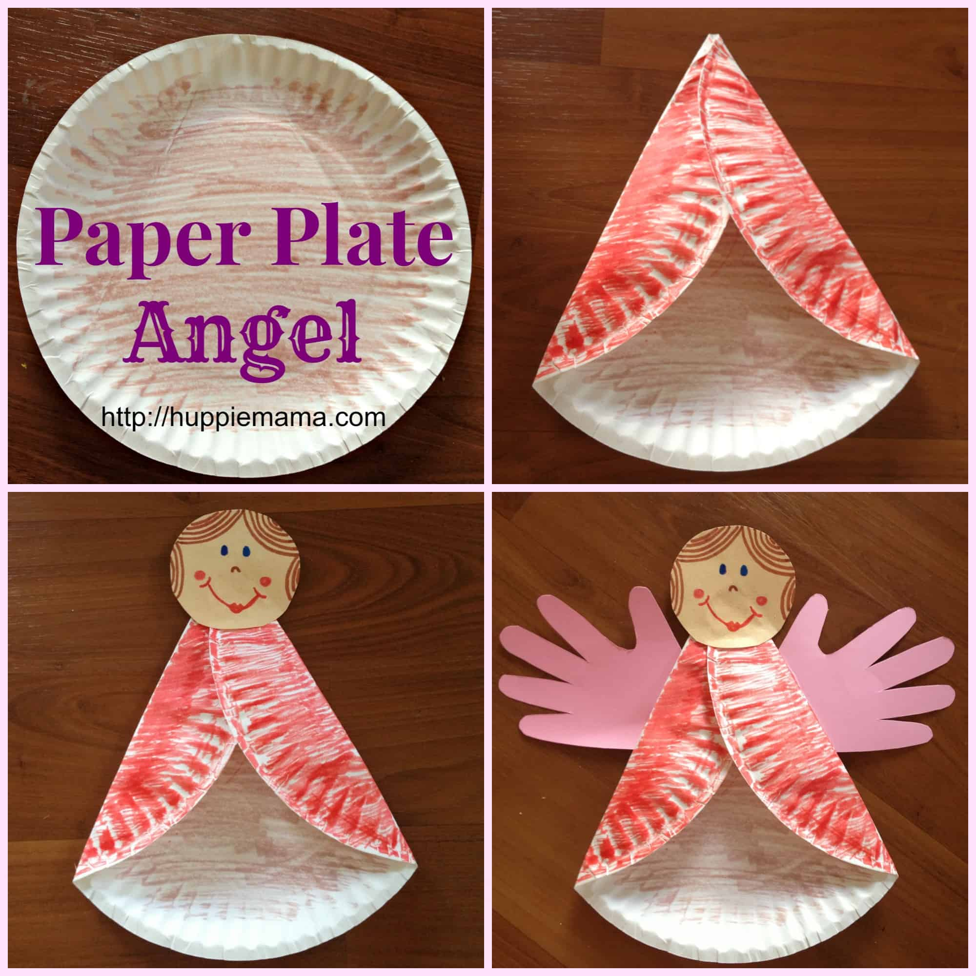 Paper plate angel with handprint wings