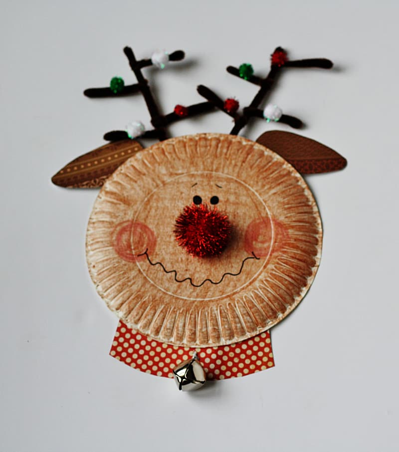 Paper plate reindeer with a bell