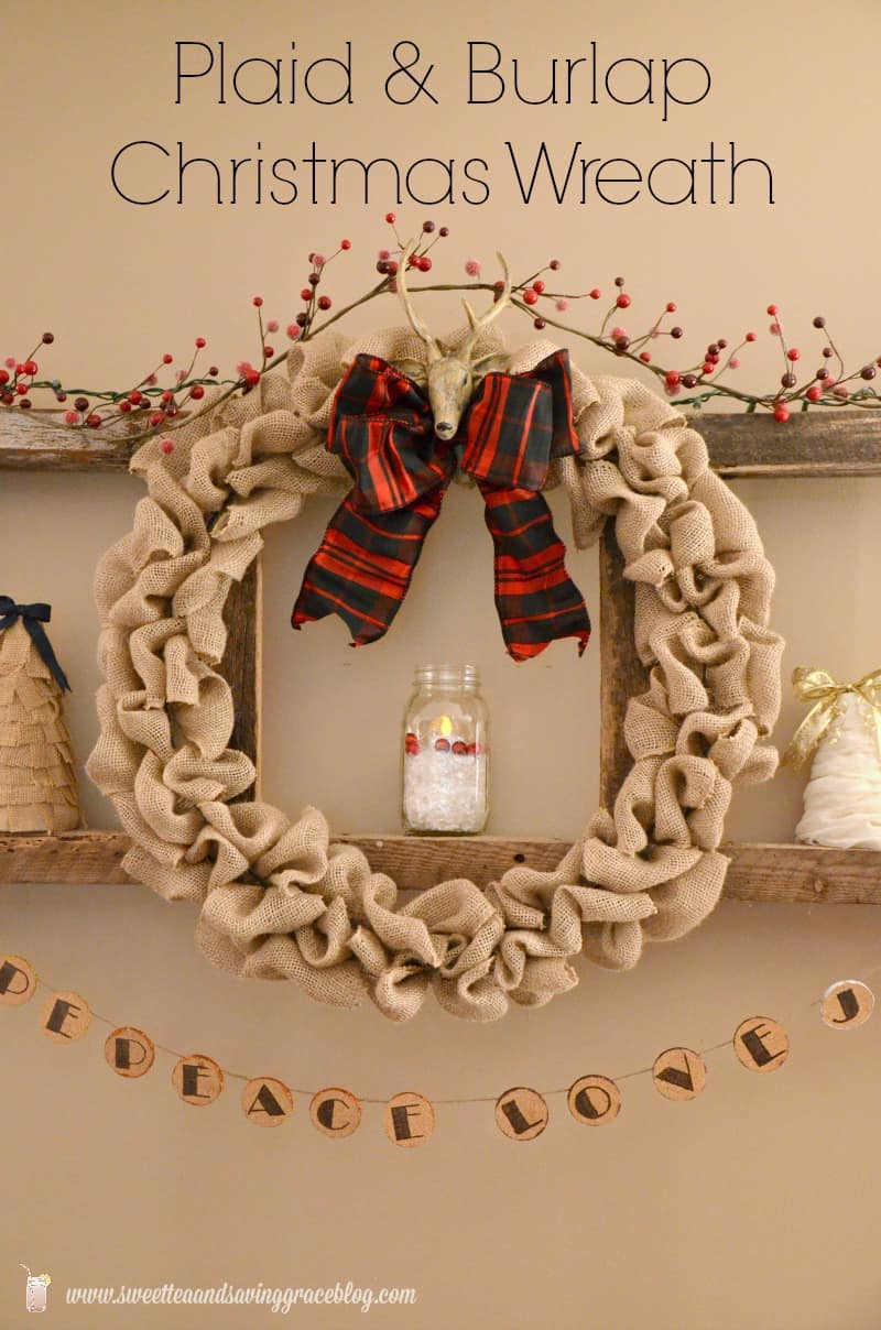 Plaid and burlap scrunched christmas wreath