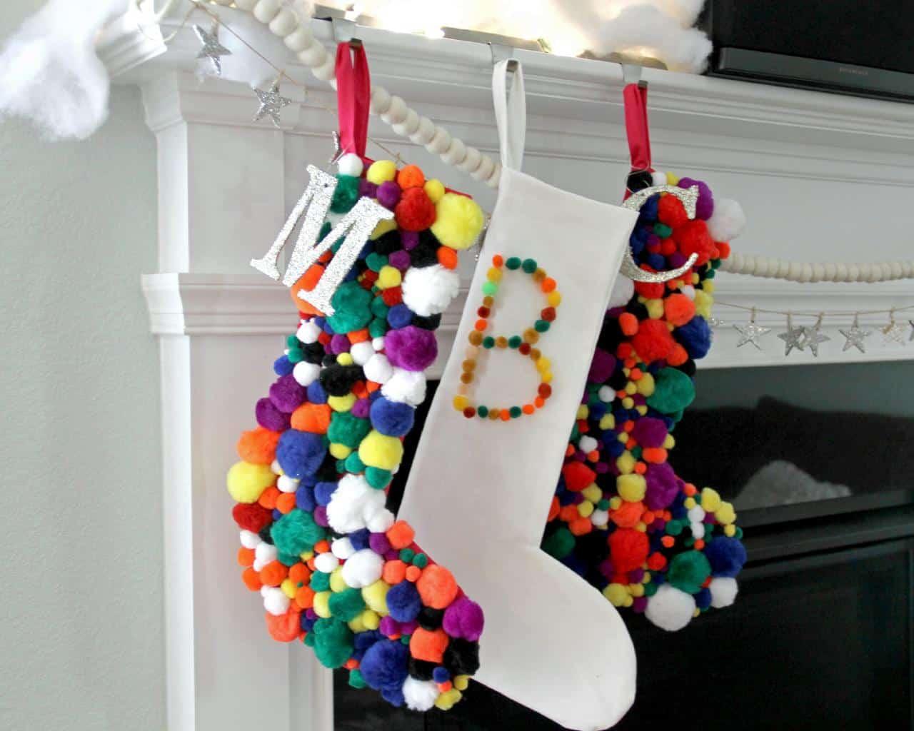Pom pom christmas stockings
