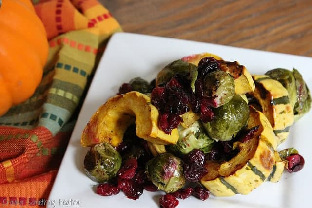 Roasted brussel sprouts, delicata squash, and cranberries with balsamic syrup