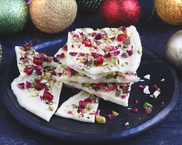 Rose petals white chocolate bark