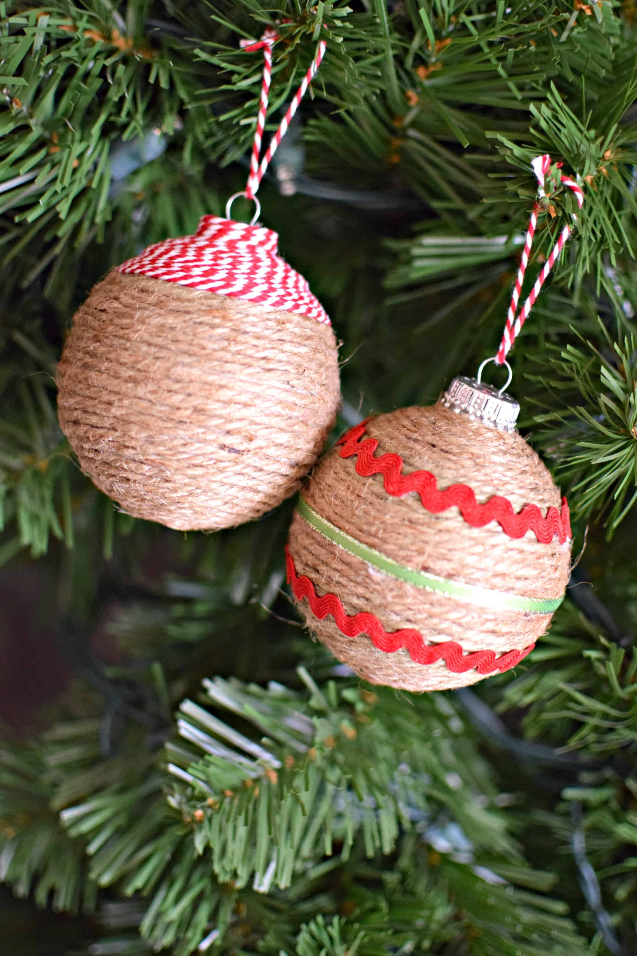 Rustic string wrapped ornaments