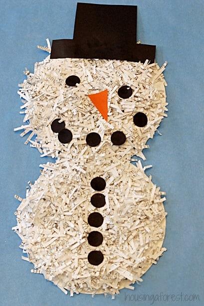 Shredded paper plate snowman