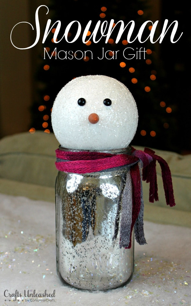 Sparkling mason jar snowman gift