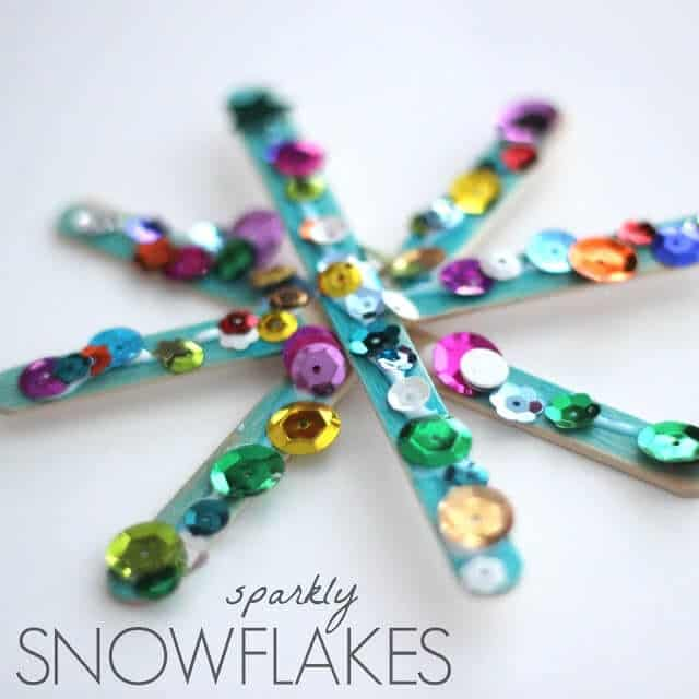 Sparkly sequin and popsicle stick snowflakes