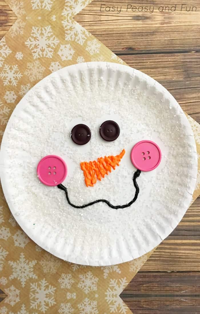 Sparkly snowman paper plate craft