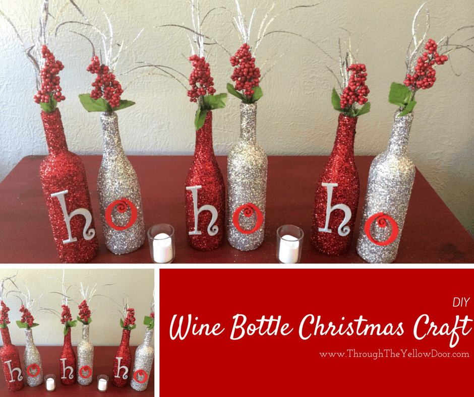 Sparkly wine bottle christmas craft