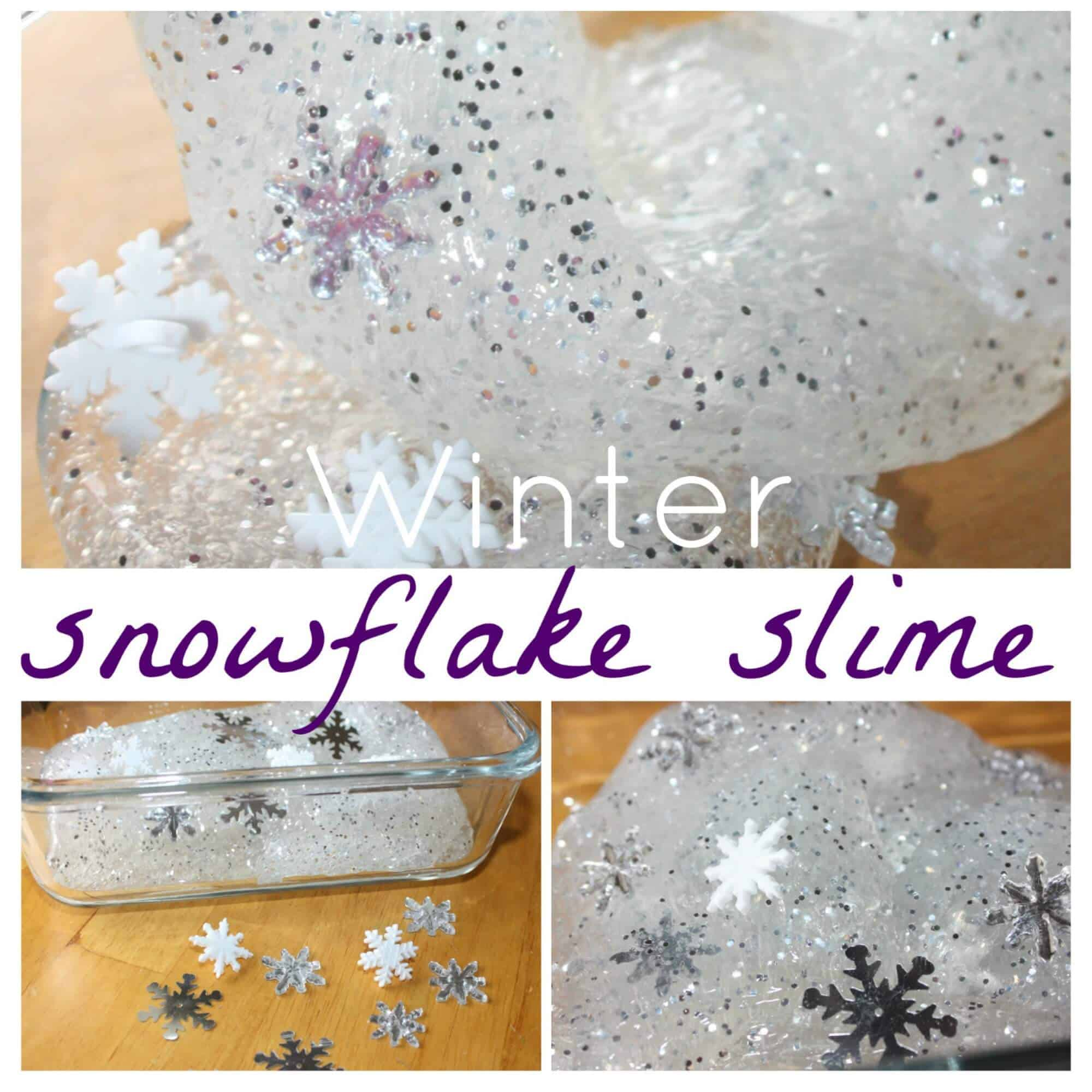 Sparkly winter snowflake slime