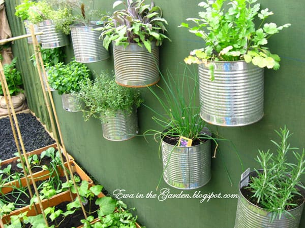 Tin can garden wall