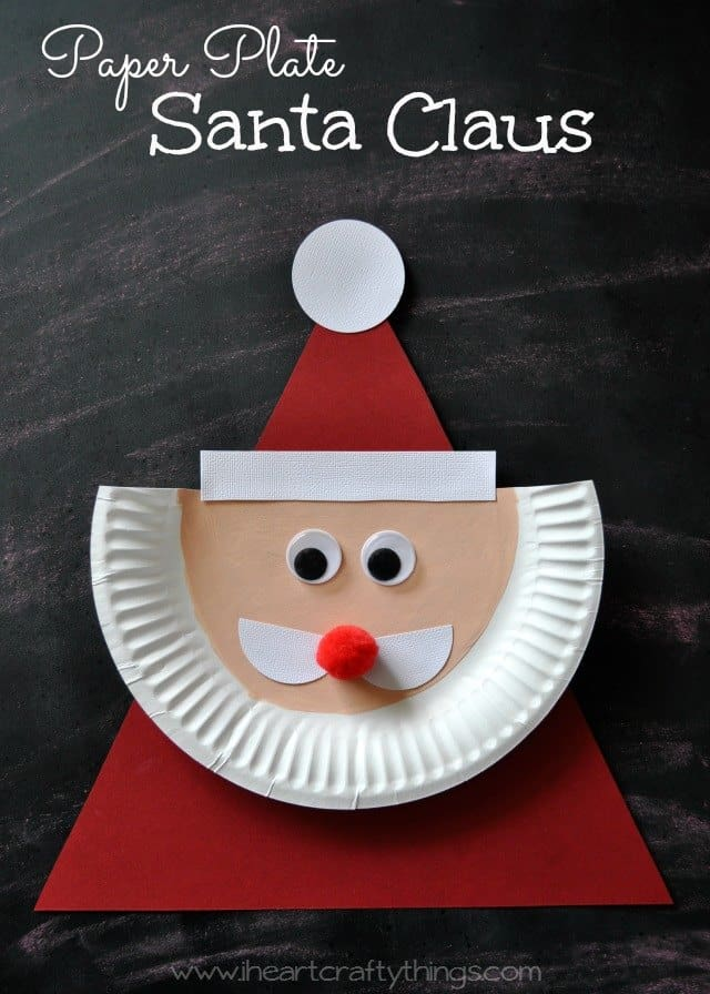 Triangle and half paper plate santa