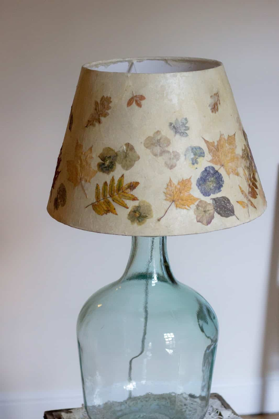 Vintage inspired dried flower lampshade