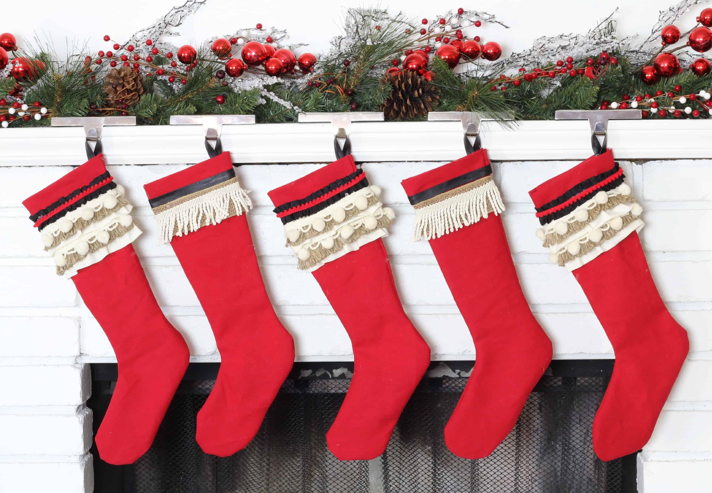 Vintage inspired frinde and pom pom trim stockings