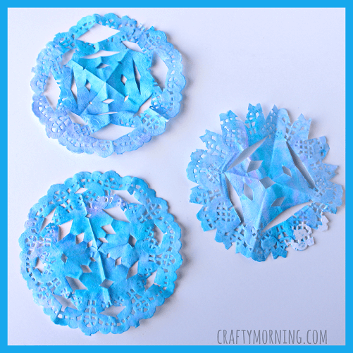 Watercolour doily snowflakes